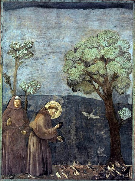 446px-Giotto_-_Legend_of_St_Francis_-_-15-_-_Sermon_to_the_Birds